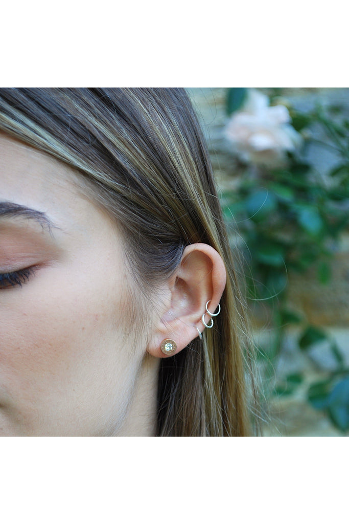 White Leaf 'Love' engraved crystal circle earring in gold