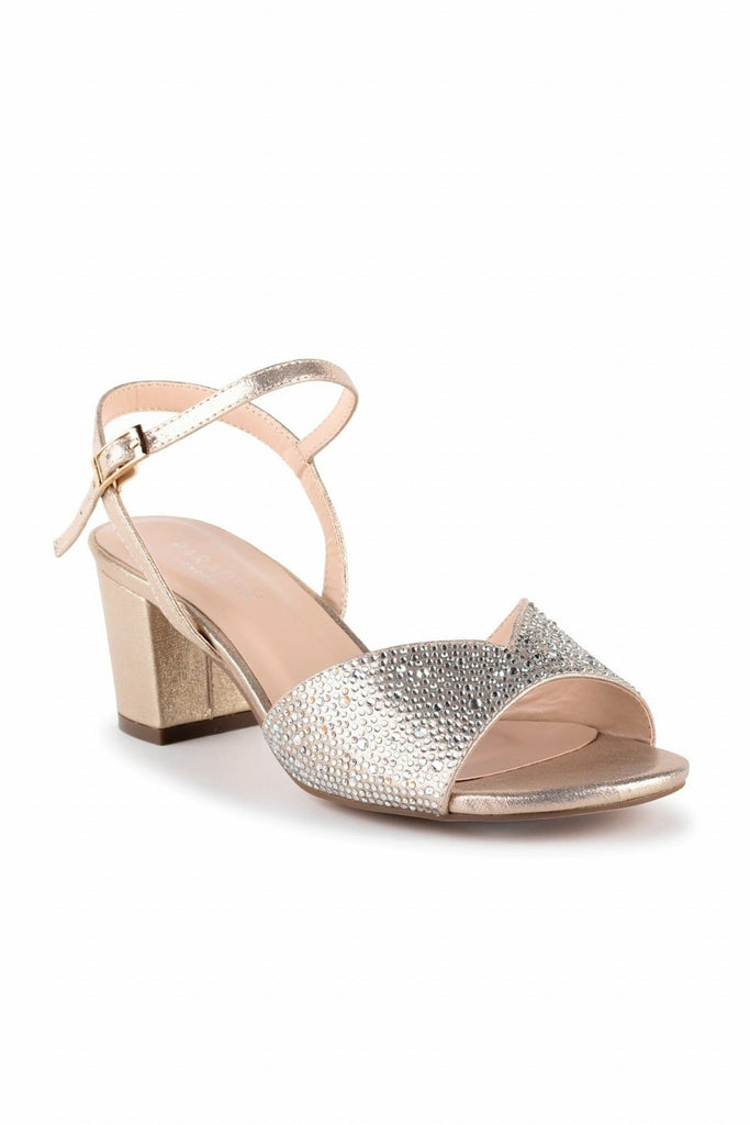 Nikita - Champagne Glitter Wide Fit Block Heel Sandals Paradox London