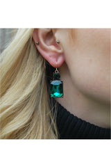 Last True Angel Emerald cut gem earring in emerald green