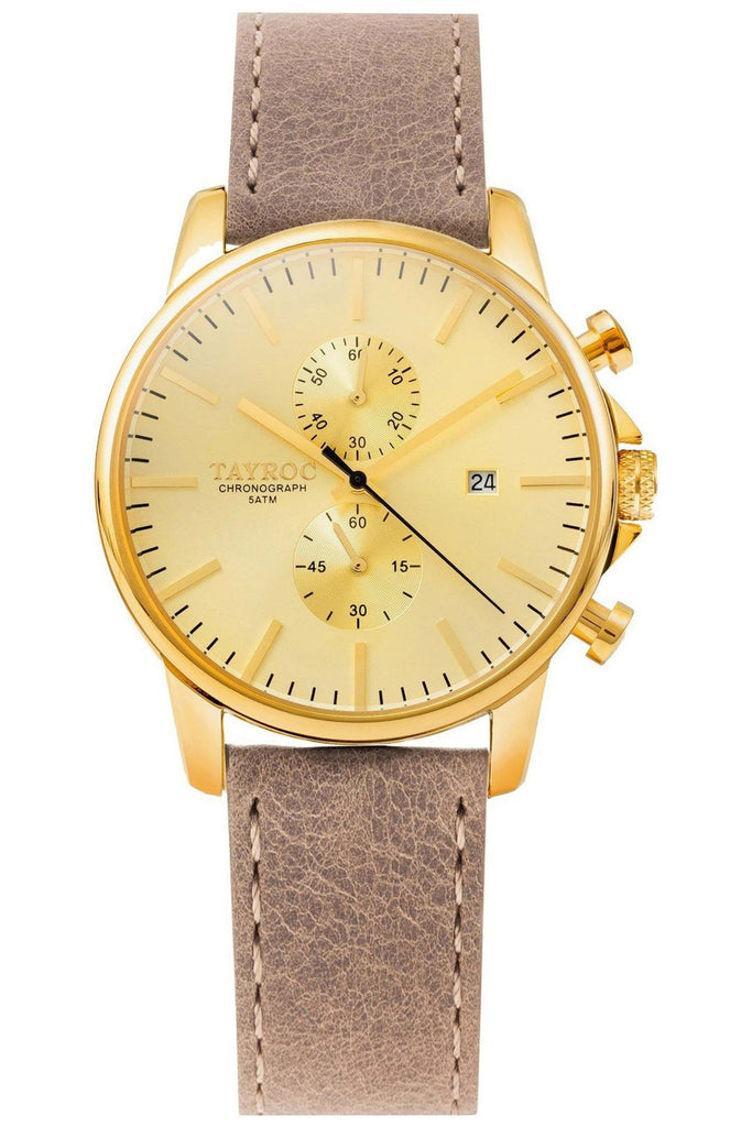 TAYROC GOLD WATCH WITH BROWN LEATHER STRAP, £110