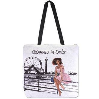 Crowned in Curls Woven Totebag