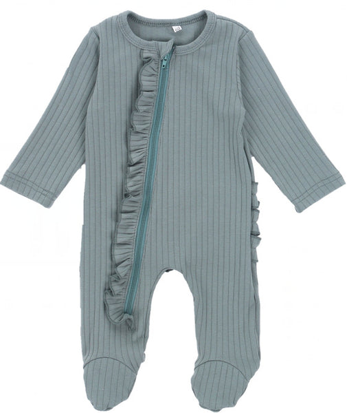 Soft organic 100% cotton romper long sleeve with ruffles