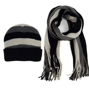 Men's Winter Knit Thick Striped Scarf and Hat Set