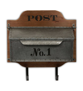 Wall Storage Mail Box Decor with Wood back, Metal Compartment and 2 Metal Hooks