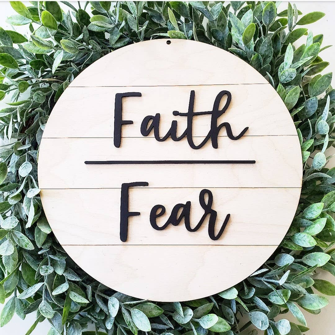 Shiplap Sign  - Faith Over Fear