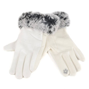 Women's Faux Fur Cuff Touch Screen Gloves with Non Slip Grip