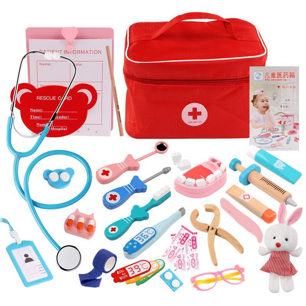 kids pretend play wooden doctor toys