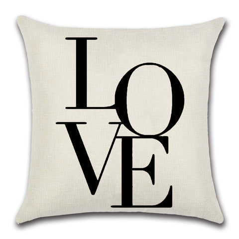 """LOVE"" Flax Linen throw pillow"