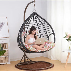 Stainless steel frame rattan cradle swing hanging chair