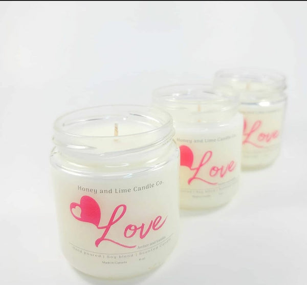 """Honey and Lime Candle Co."" Hand poured, all natural candles"