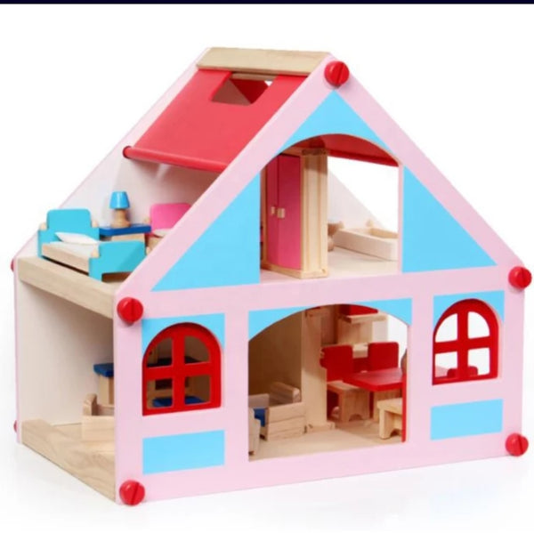 Wooden mini doll house
