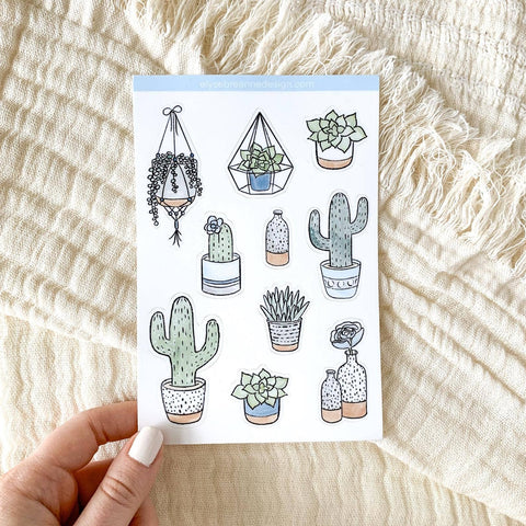 Succulent Sticker Sheet, 4x6in. Waterproof Stickers