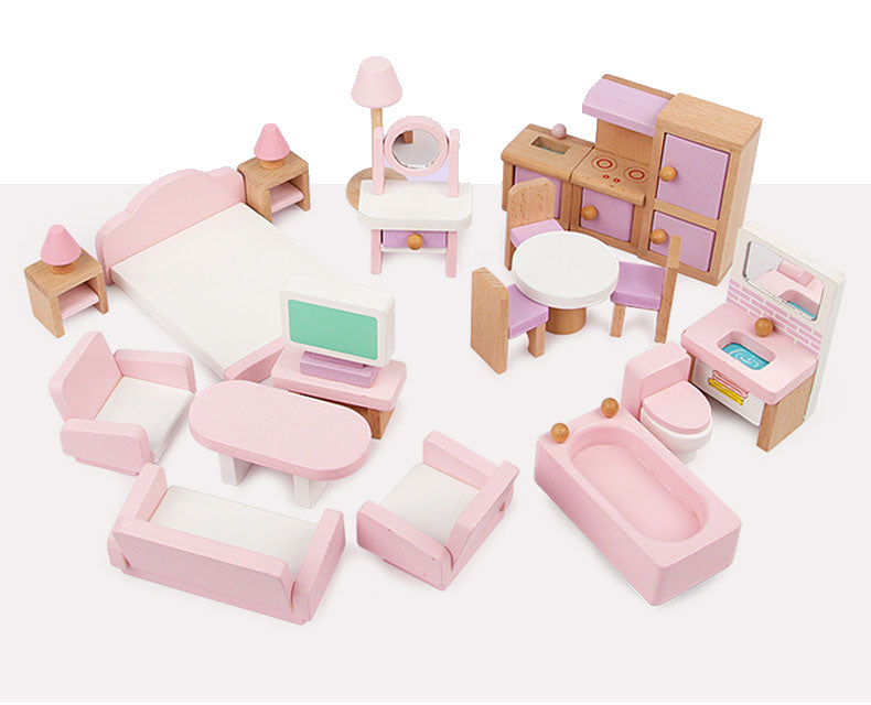 Mini Wooden Toy Doll House Kids Doll House Furniture