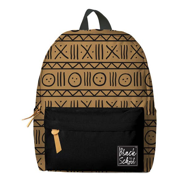 Brown Mudcloth Pattern Backpack Set