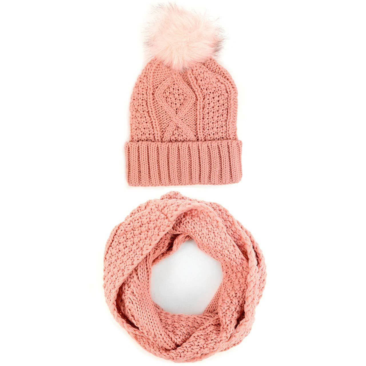 Women's 2pc Knit Hat & Infinity Scarf Winter Set