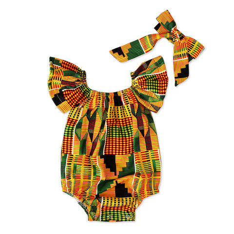 Colorful ethnic girls romper 2pc