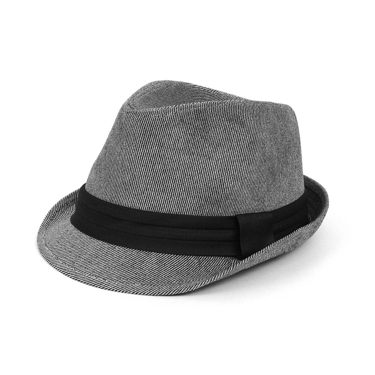 Fall/Winter Soft Pinstripe Trilby Fedora Hat with Black Band