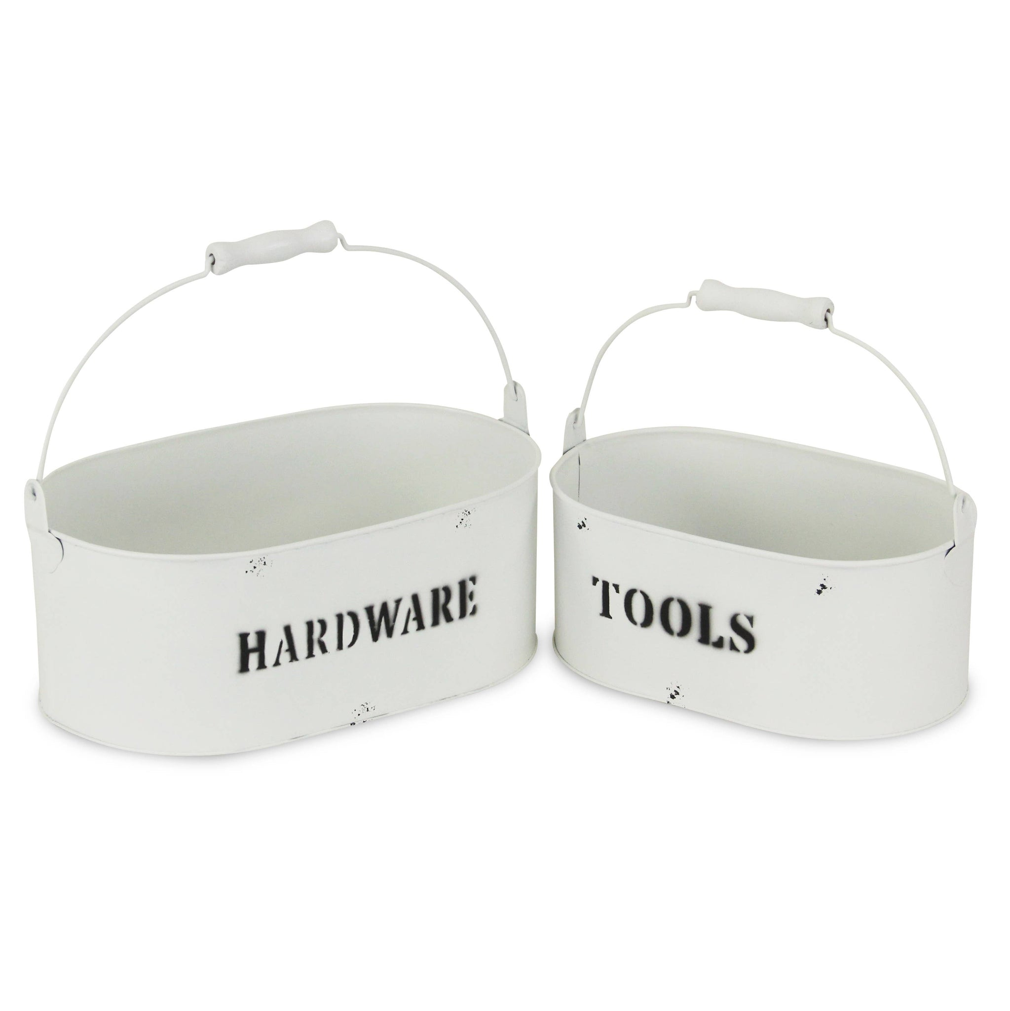 Set of 2 Galvanized Metal Caddy - White