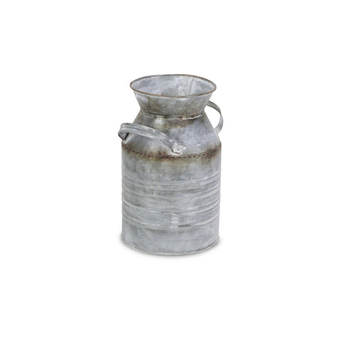 Galvanized Metal Milk Jar with Bronze Accent Bands and Side Handles