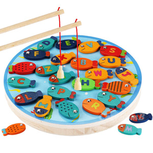 Wooden magnetic fishing toy set