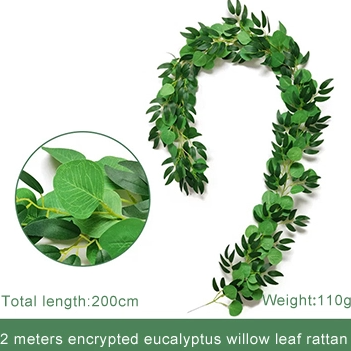 Faux eucalyptus garland with mixed greenery
