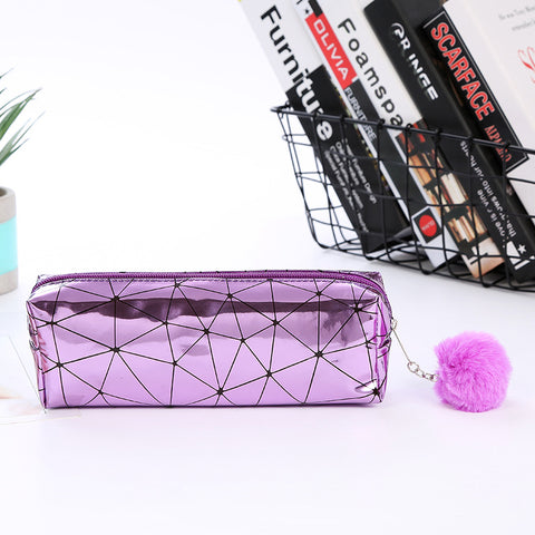 Diamond Pattern Holographic Pencil Case With Plush Ball