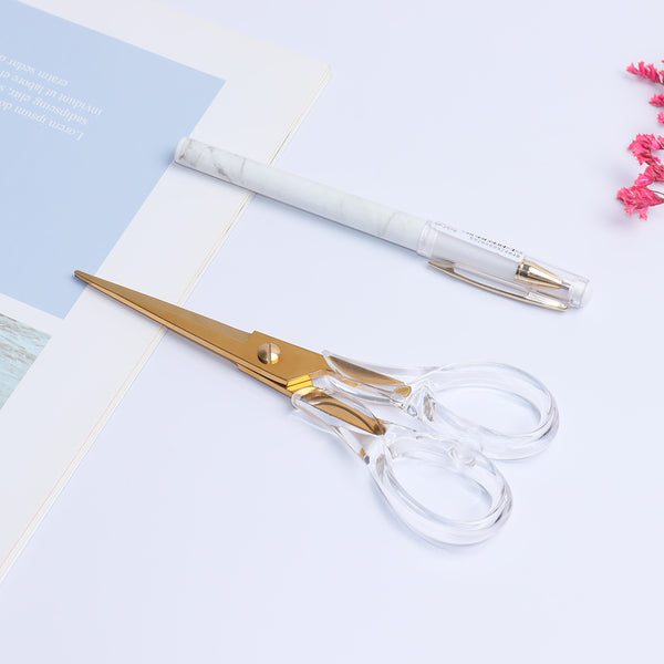 6.5 inch gold deluxe clear scissors