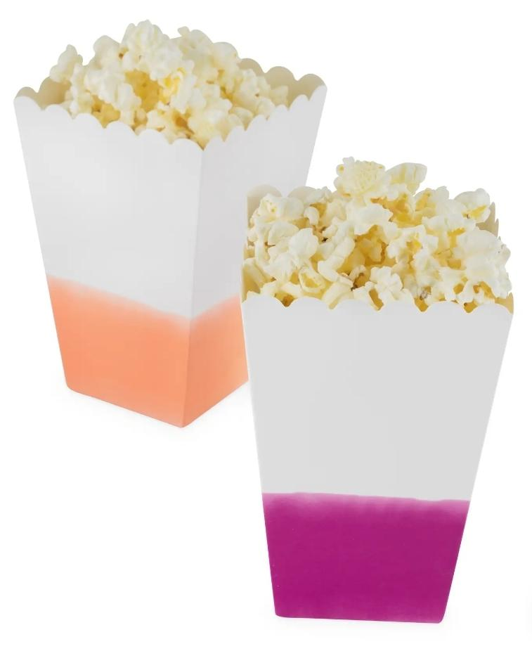 Assorted Dipped Paper Popcorn Bag Set of 8