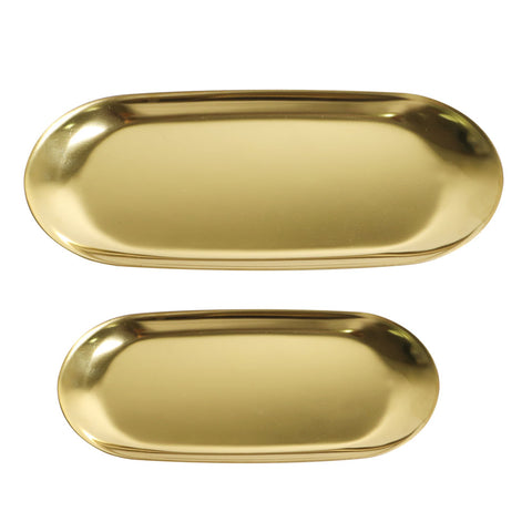 2pcs oval gold tray set