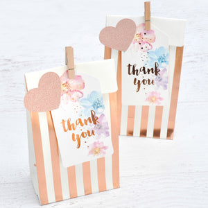 Rosegold Stripes and Dots Treat Bags - Pack of 10