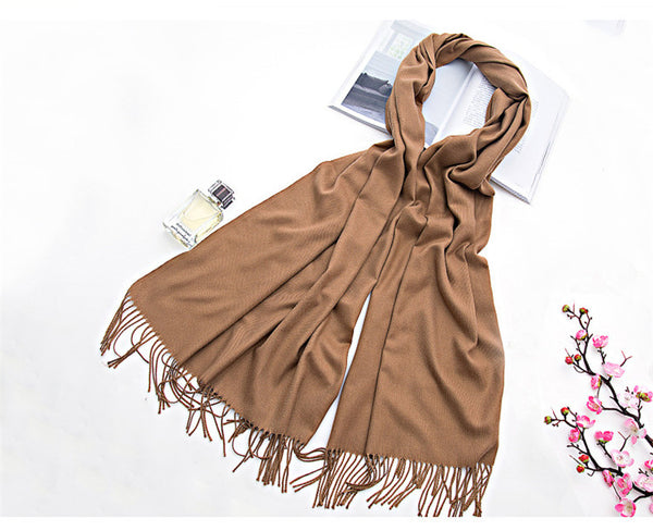 Soft Silky Pashmina Shawl Wrap Scarf in Solid Colors