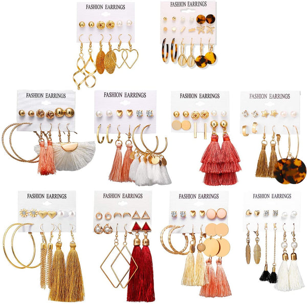 Colorful Earrings with Tassel Earrings Set- 6 to 8 pairs