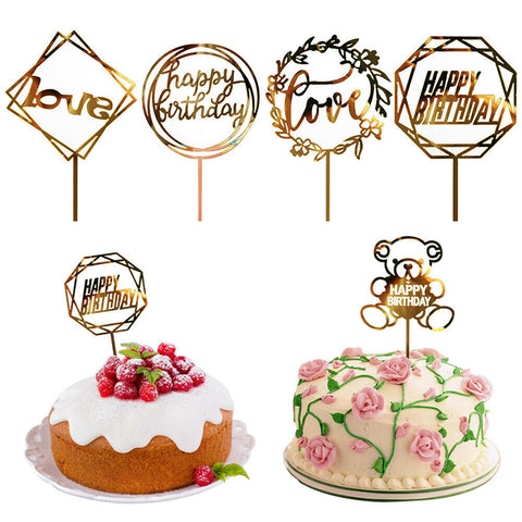 Cake topper-Metallic Gold acrylic toppers-Happy birthday and Love