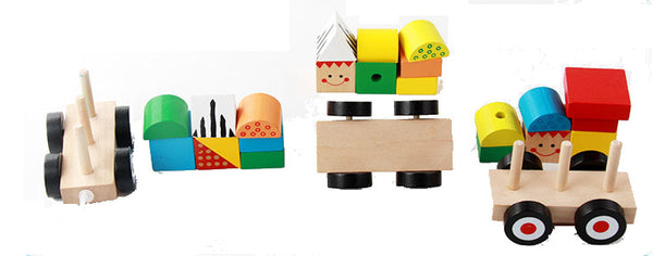 Wooden train educational toy