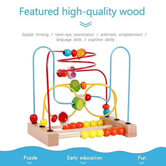 Montessori colorful wooden fruit beads maze