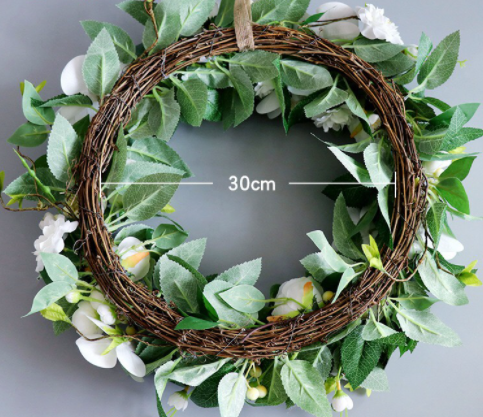 Artificial Phalaenopsis Green Leaves Decorative Wreath Foliage Garland