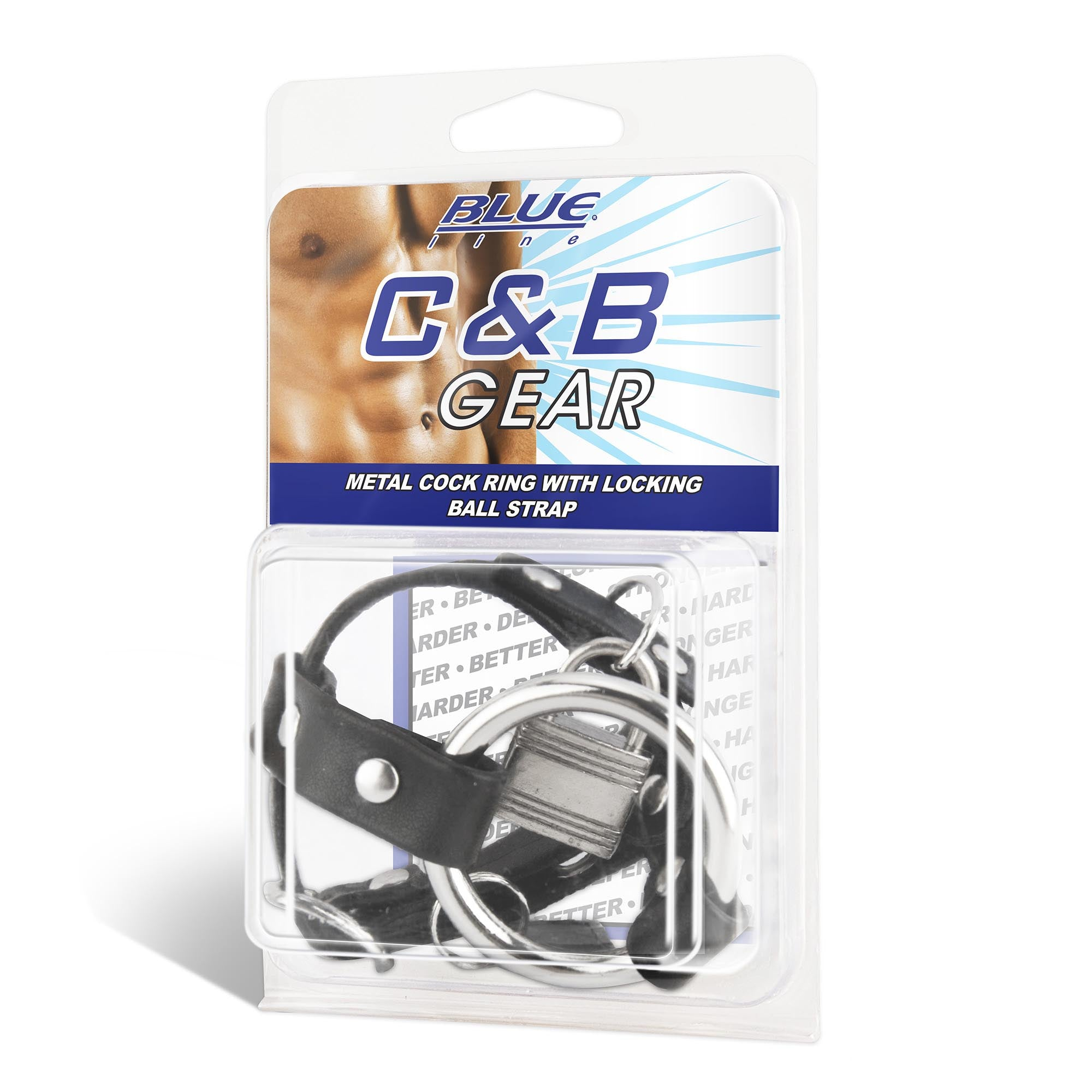 Blue Line Men Metal Cock Ring With Locking Ball Strap