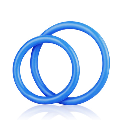 Blue Line Men Silicone Cock Ring Set - Blue