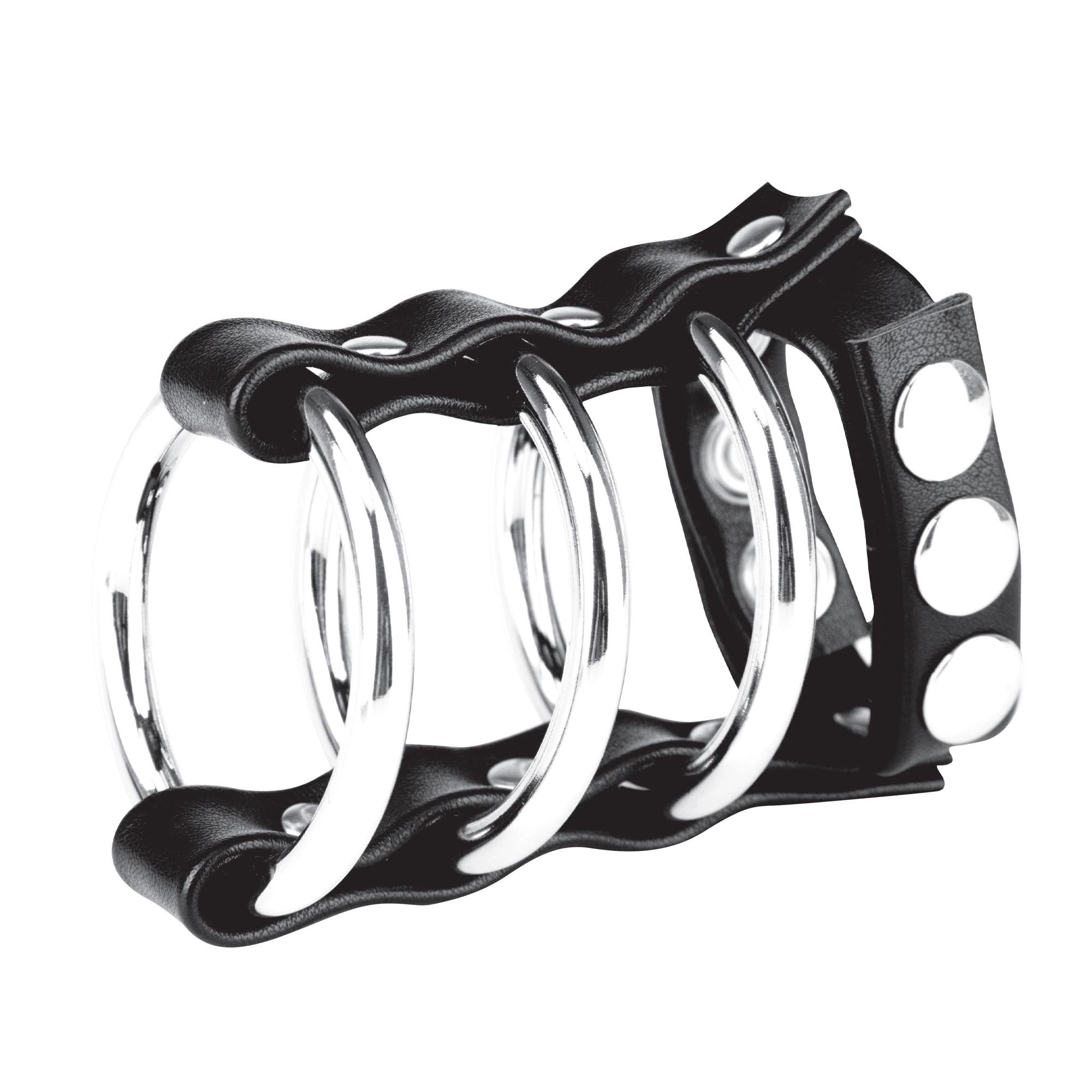 Blue Line Men Triple Metal Cock Ring With Adjustable Snap Ball Strap