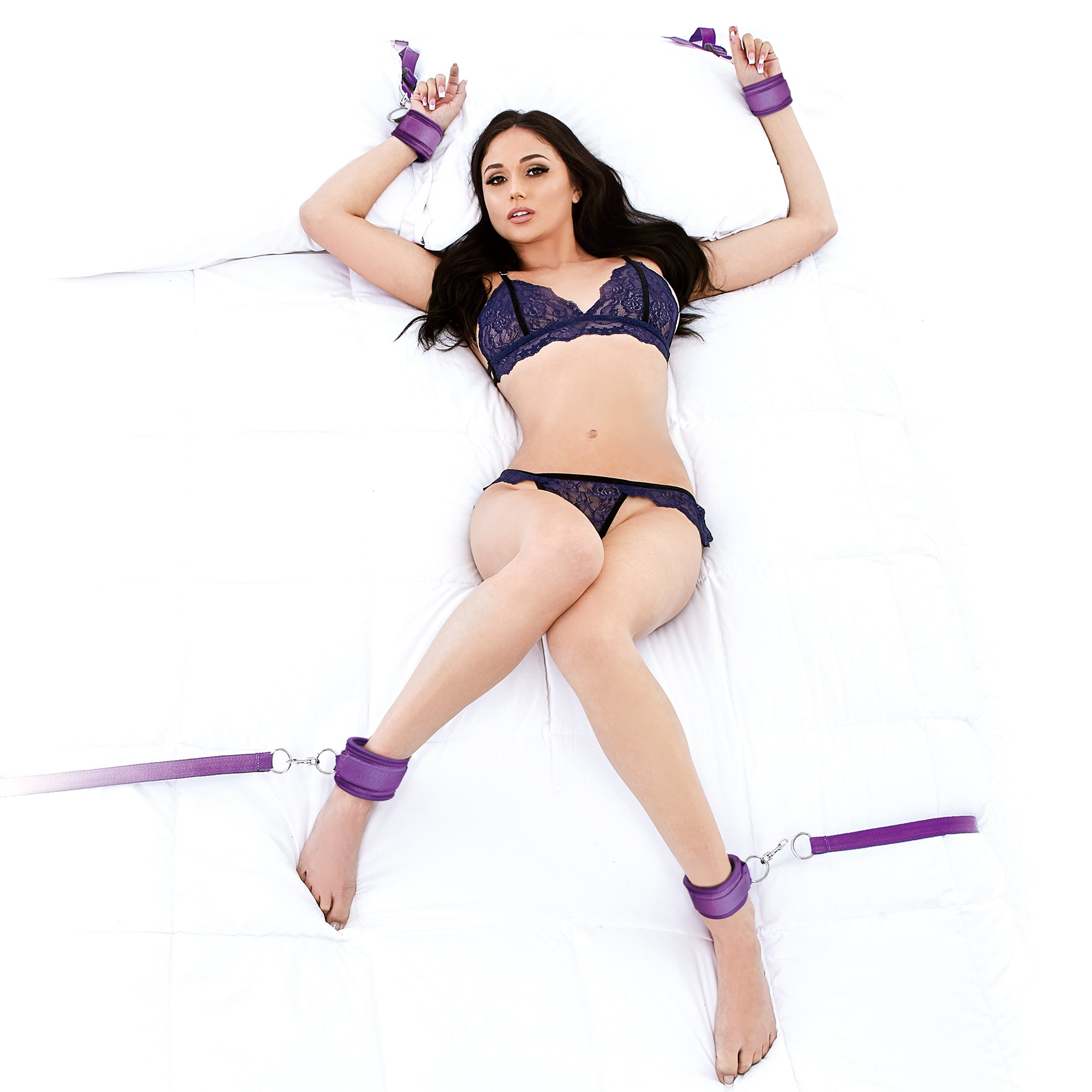 Lux Fetish Bedspreader Bed Restraint (7PCS) Purple