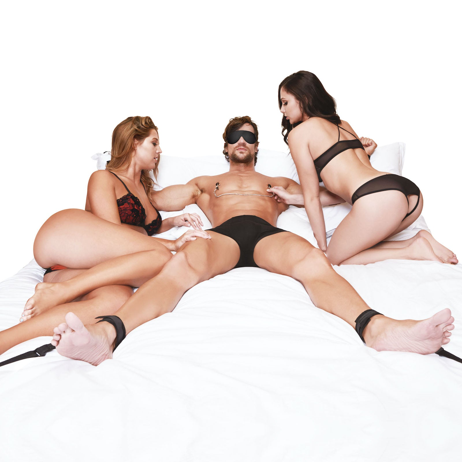 Lux Fetish Fuzzy Lovers Bedspreaders - Bed Restraint 4PC Set