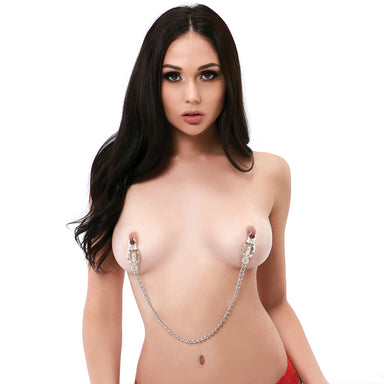 Lux Fetish Japanese Clover Nipple Clamps with Chain