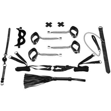 Lux Fetish Master-Slave Domination Chain-Me-Up Bedspreaders - Bed Restraint 6PC Set