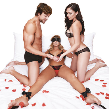 Lux Fetish Night Of Romance Satin Cuffs With Rose Petals Bedspreaders - Bed Restraint 6PC Set