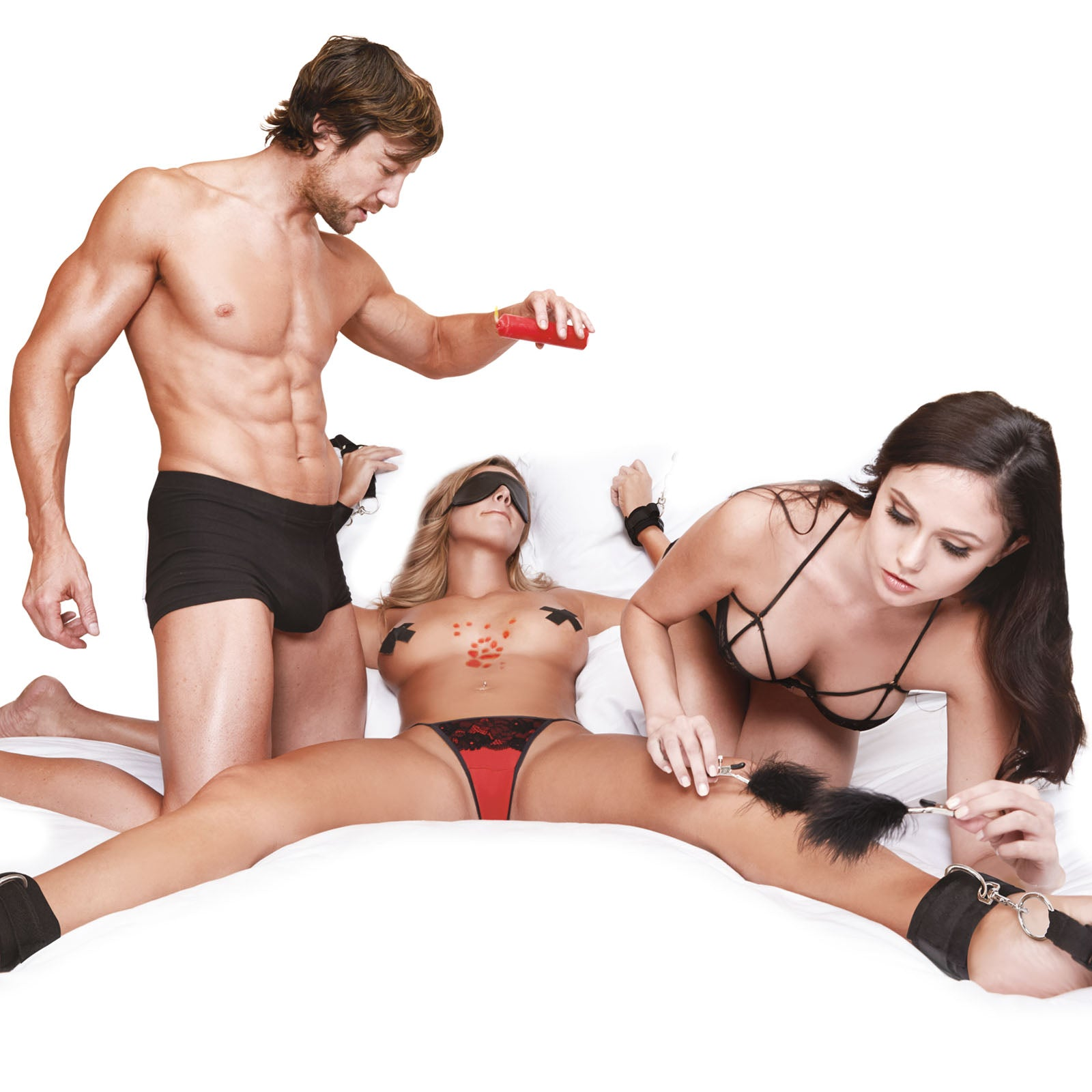 Lux Fetish Sensory Experience With Wartenberg Pinwheel Bedspreaders - Bed Restraint 7PC Set