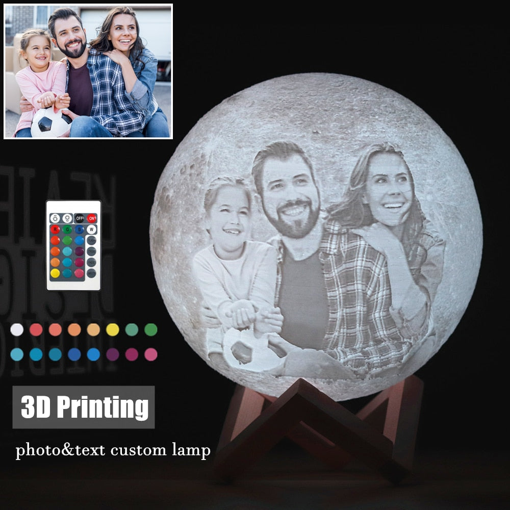 Custom 3D Photo Moon Lamp - Eresbos