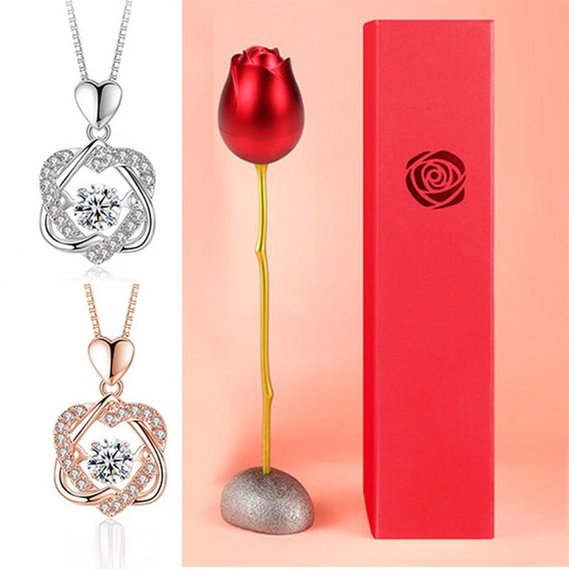 Heart Necklace Set With Rose - Eresbos