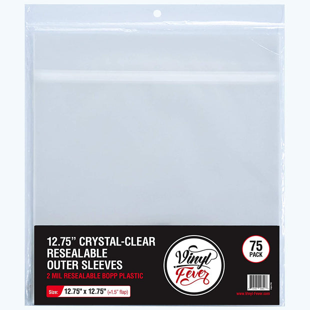 Resealable Crystal-Clear BOPP Outer Record Sleeves with Flap