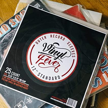 Vinyl Fever High-Density 3 Mil Outer Record Sleeves for Storage of Standard 12 LP Records and Albums - Crystal Clear Polypropylene LP Covers Shop Vinyl Fever