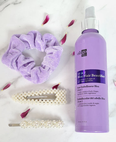 Oligo 18 in one leave in condtioner for blondes, pearl hair clips, light purple velvet scrunchie.
